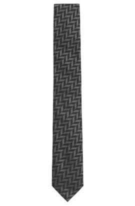 'Tie 6 cm' | Slim, Silk Embroidered Tie, Black