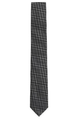 'Tie 6 cm' | Slim, Silk Embroidered Tie, Black