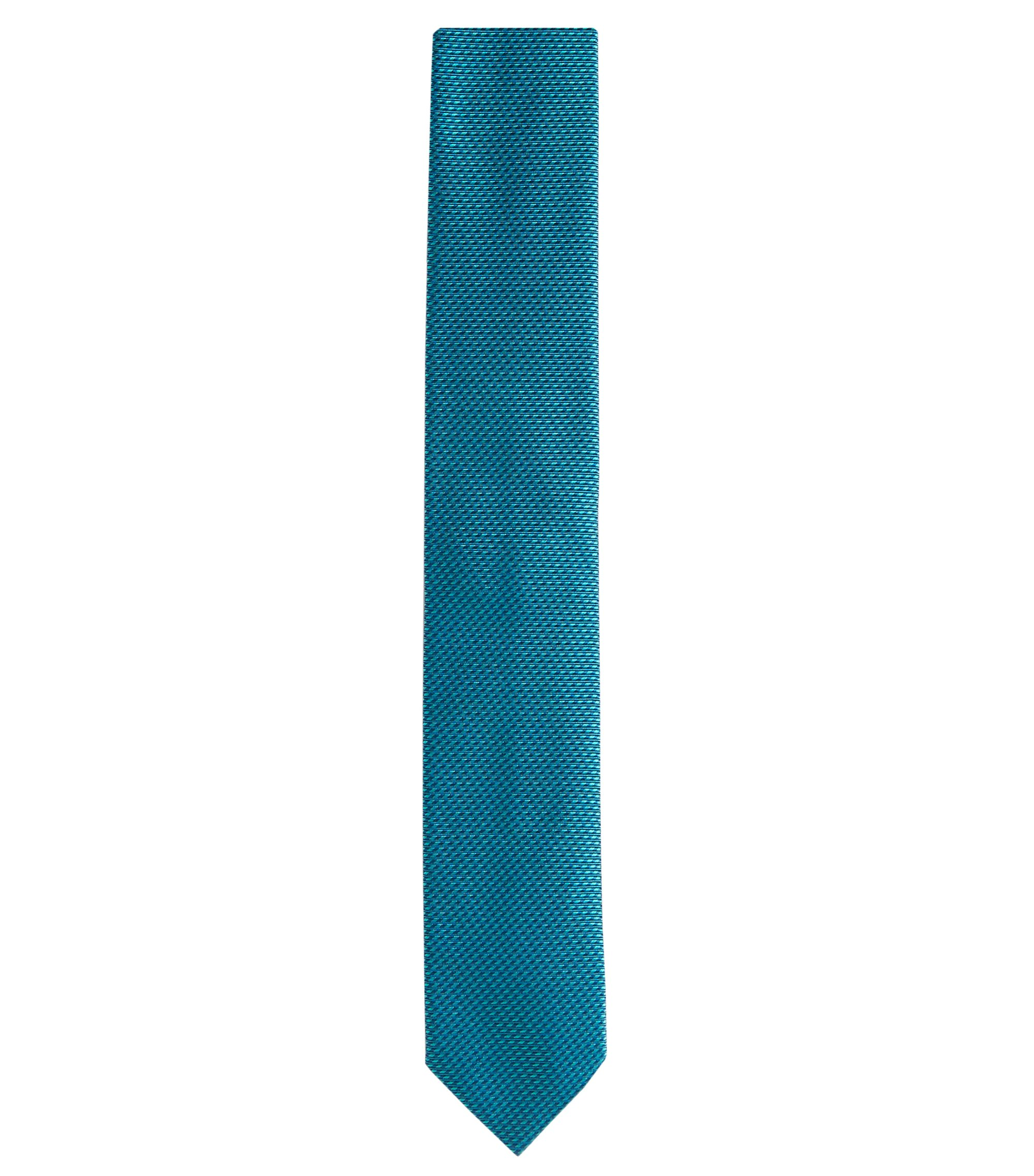 'Tie 6 cm'   Slim, Silk Ribbed Tie, Open Green
