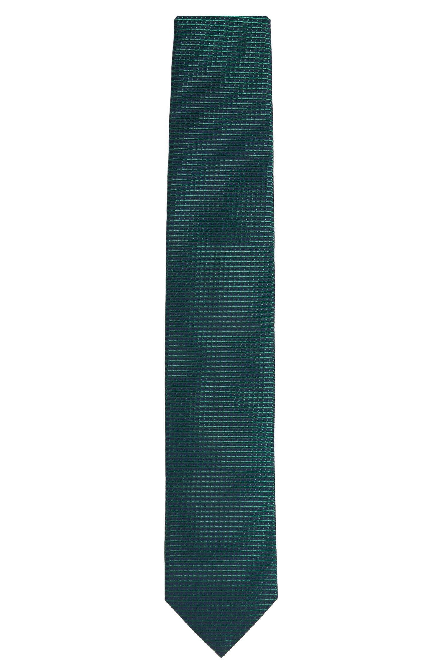 'Tie 7 cm' | Regular, Italian Silk Embroidered Tie, Green