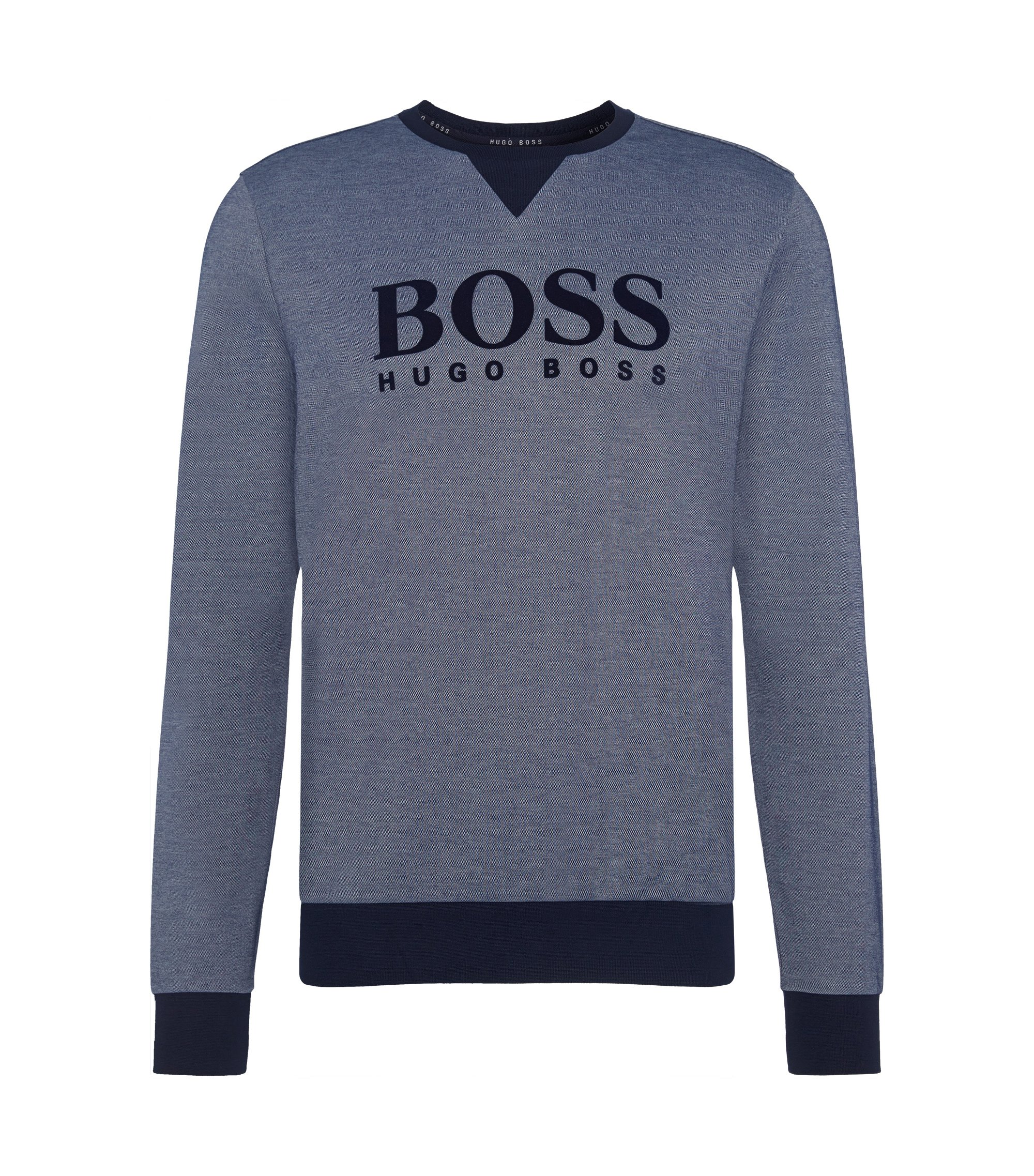 Cotton Blend Flock Logo Sweatshirt   Sweatshirt, Open Blue