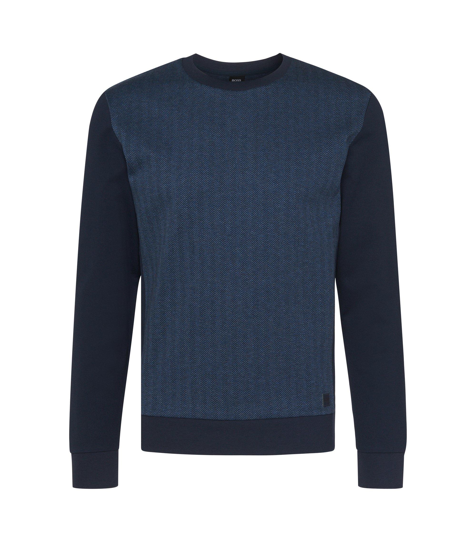 Cotton Herringbone Print Sweatshirt | Sweatshirt, Dark Blue