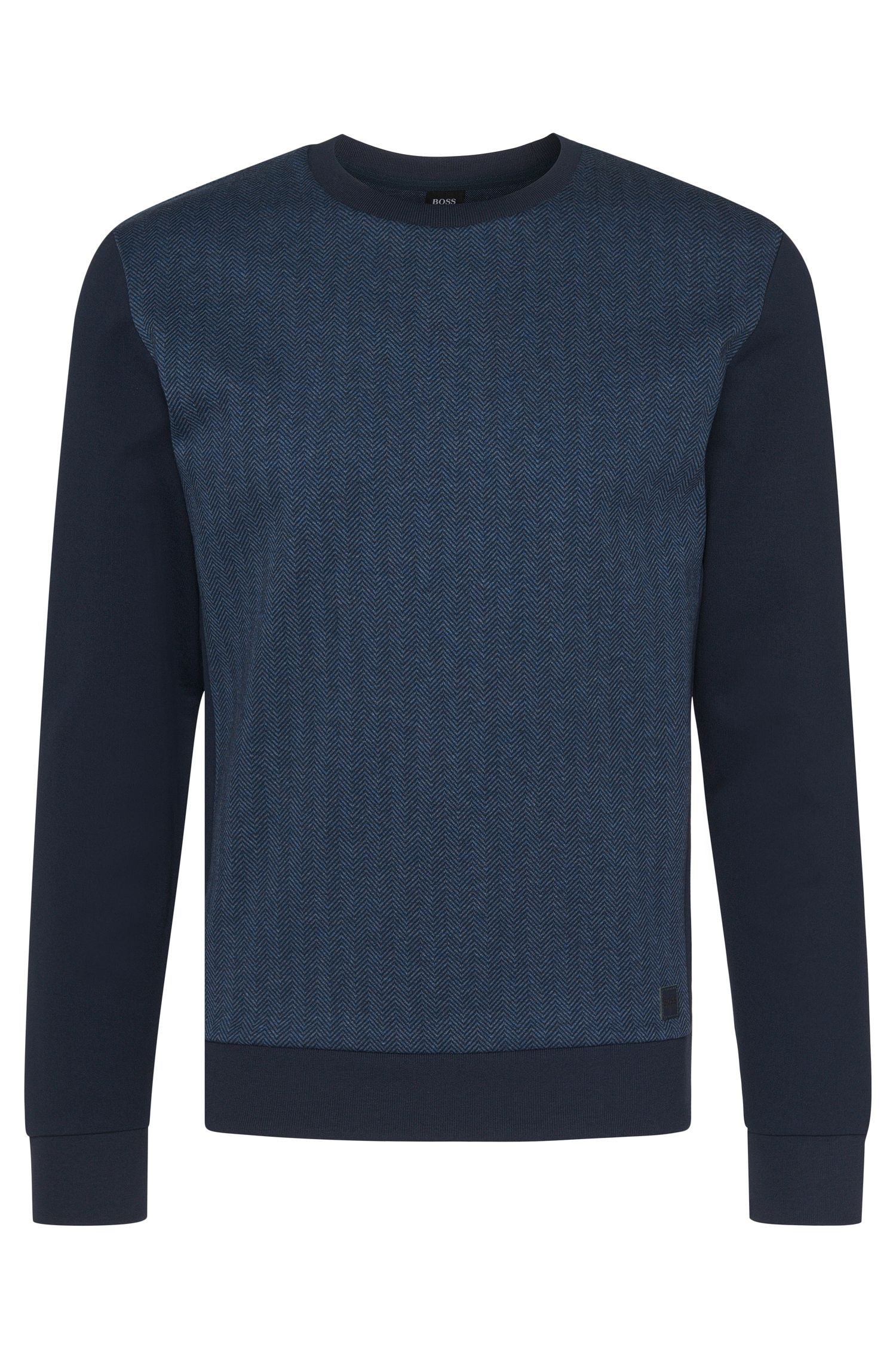 Cotton Herringbone Print Sweatshirt | Sweatshirt