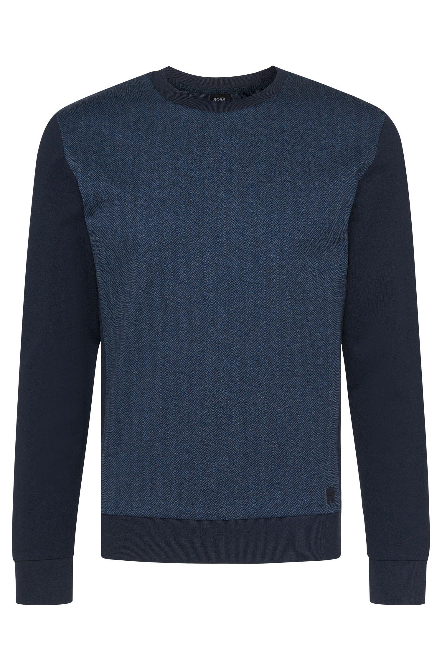 Cotton Herringbone Print Sweatshirt   Sweatshirt