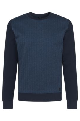 'Sweatshirt' | Cotton Herringbone Print Sweatshirt, Dark Blue
