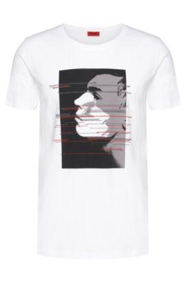 Cotton Printed Profile T-Shirt | Dashas, White