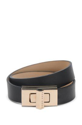 'BOSS Bespoke Brac-N' | Leather Turnlock Wrap Bracelet, Black