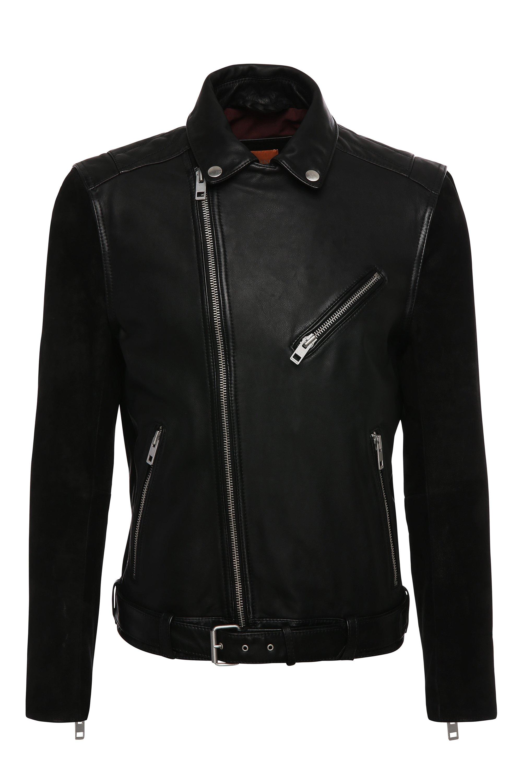 'Jetz' | Mixed Media Leather Biker Jacket, Black