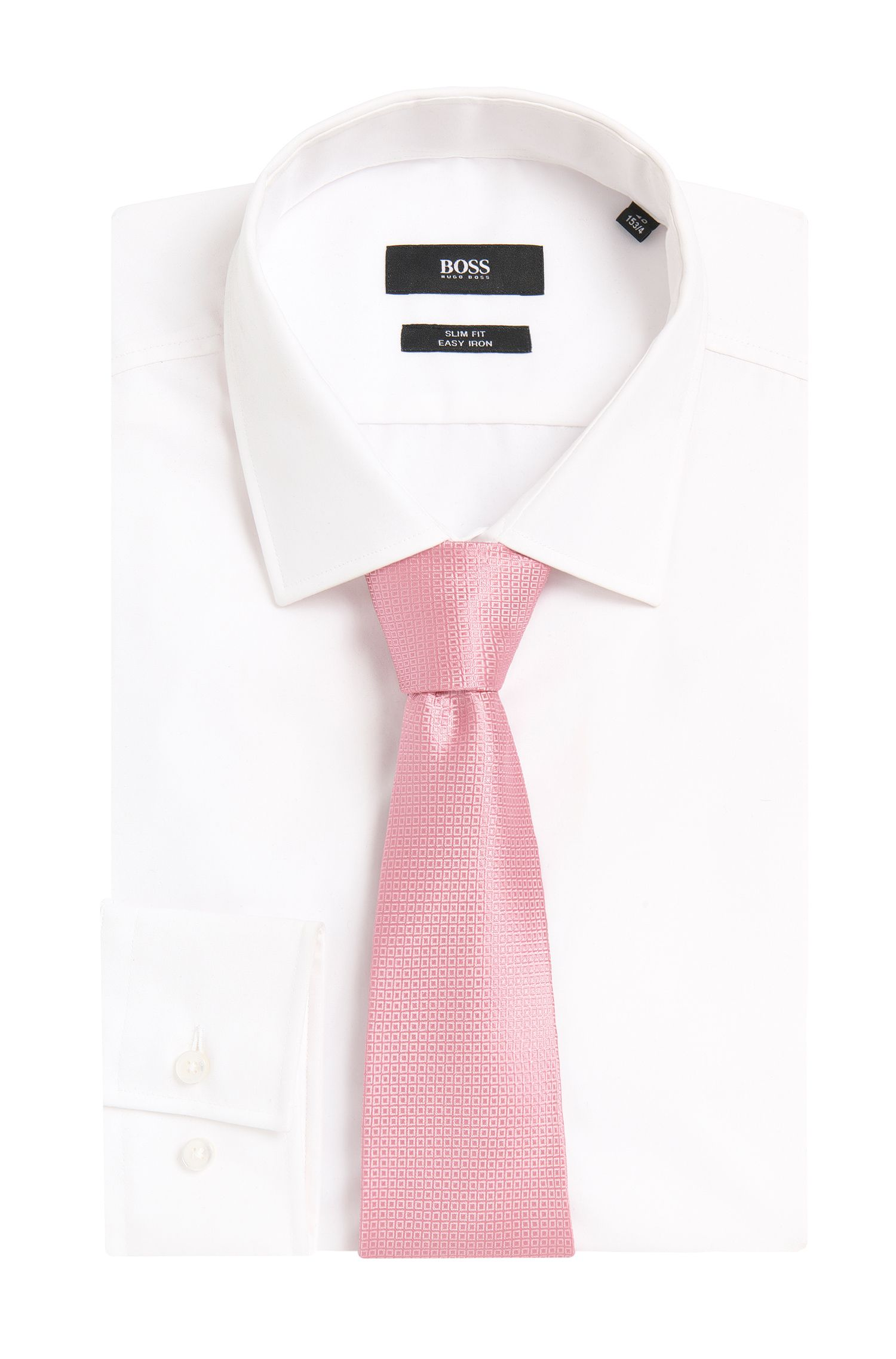 Nailhead Italian Silk Tie, Open Pink