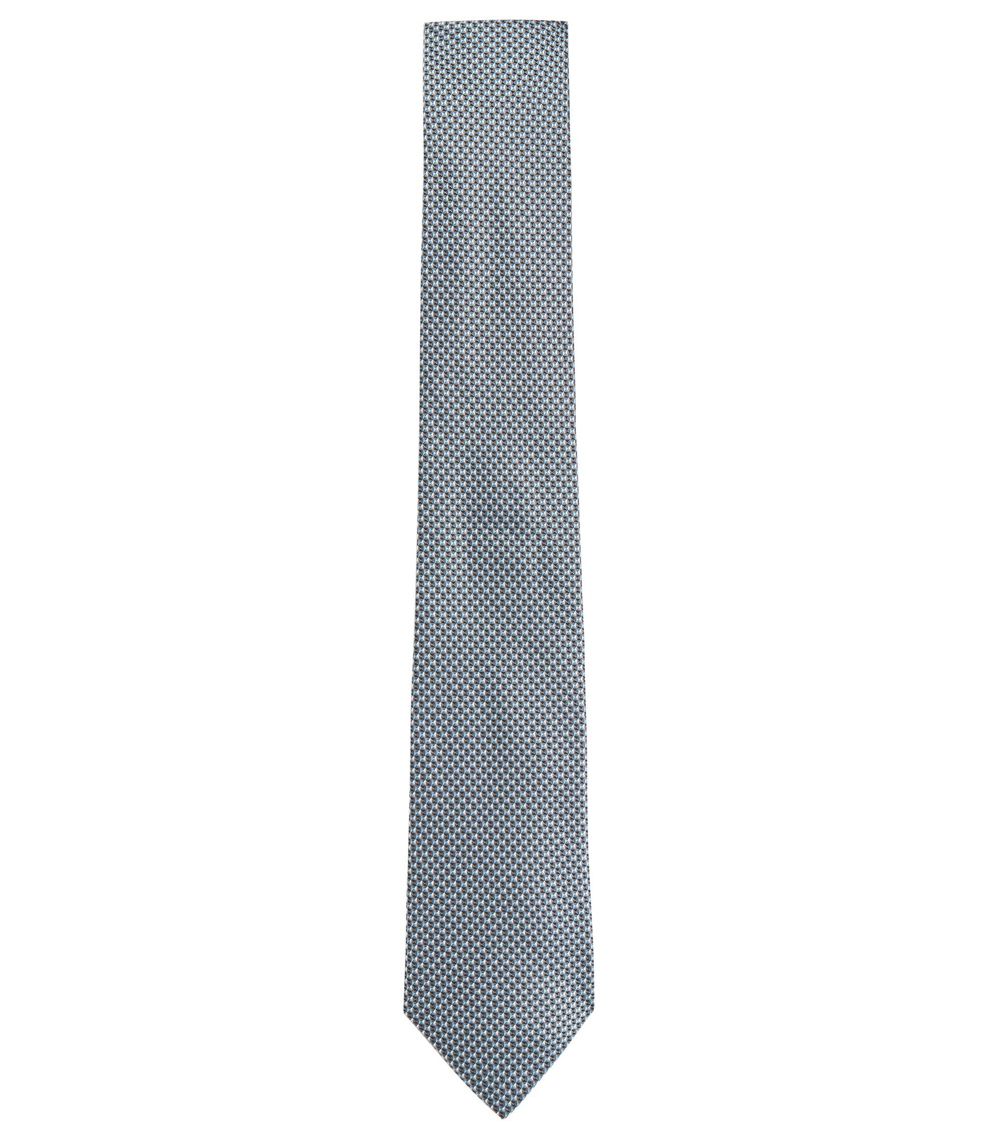 'Tie 7.5 cm' | Regular, Silk Geo Patterned Tie, Black