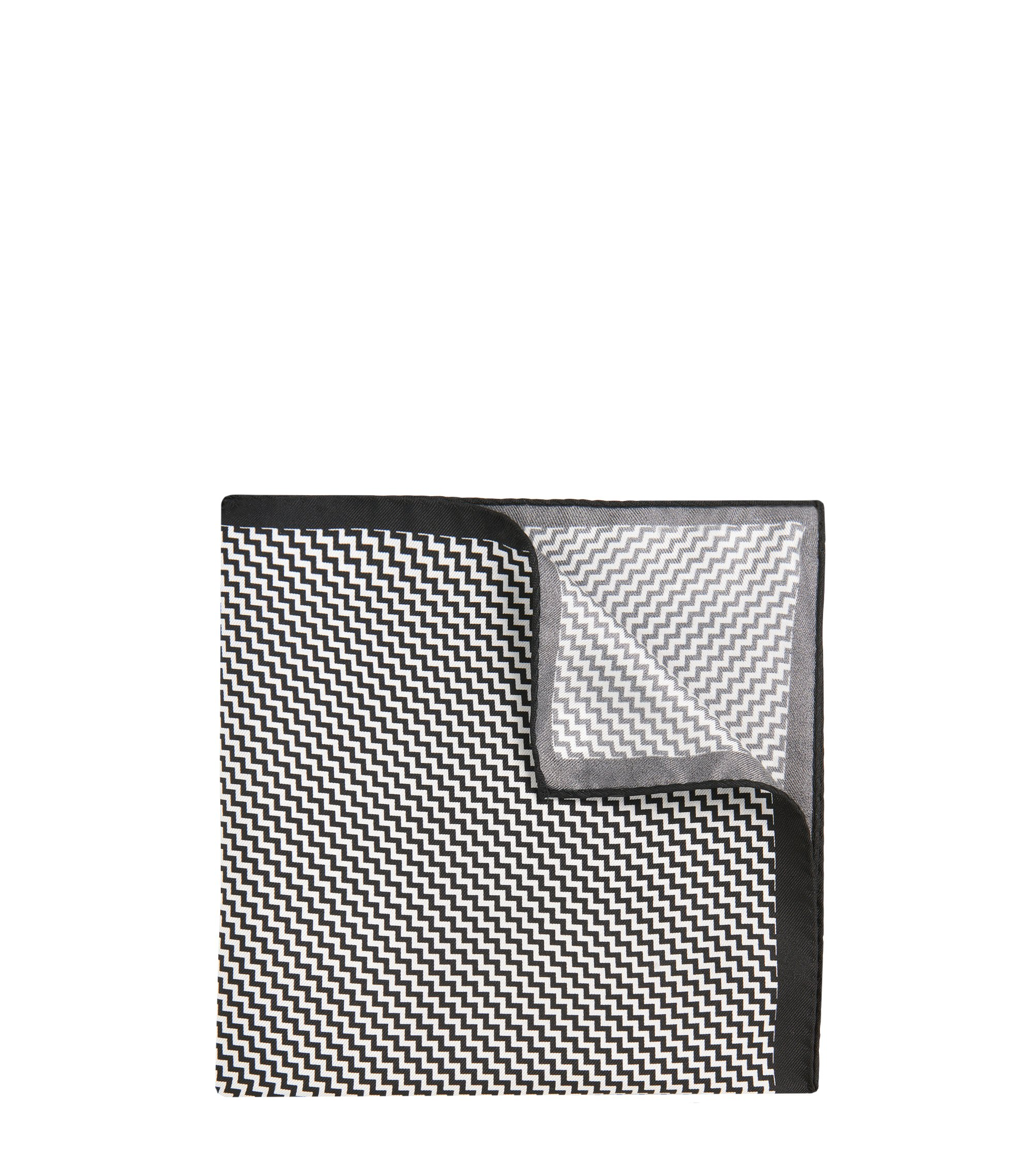 Patterned Italian Silk Pocket Square, Black