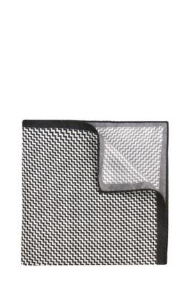 'Pocket sq. cm 33x33' | Italian Silk Patterned Pocket Square, Black