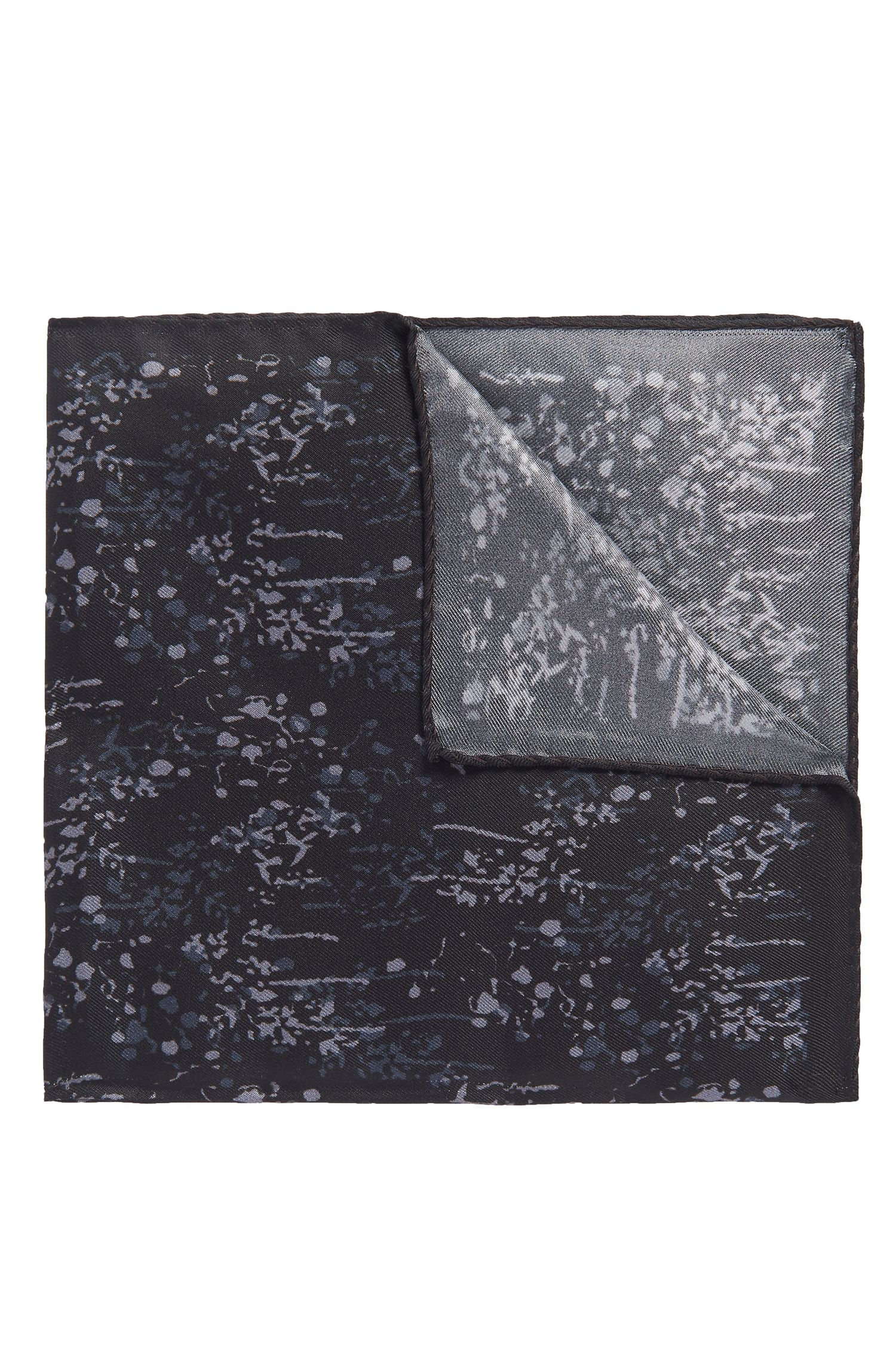 Patterned Italian Silk Pocket Square, Black