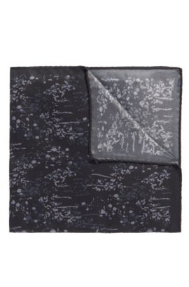 'Pocket sq. cm 33x33' | Italian Silk Patterned Pocket Square, Black