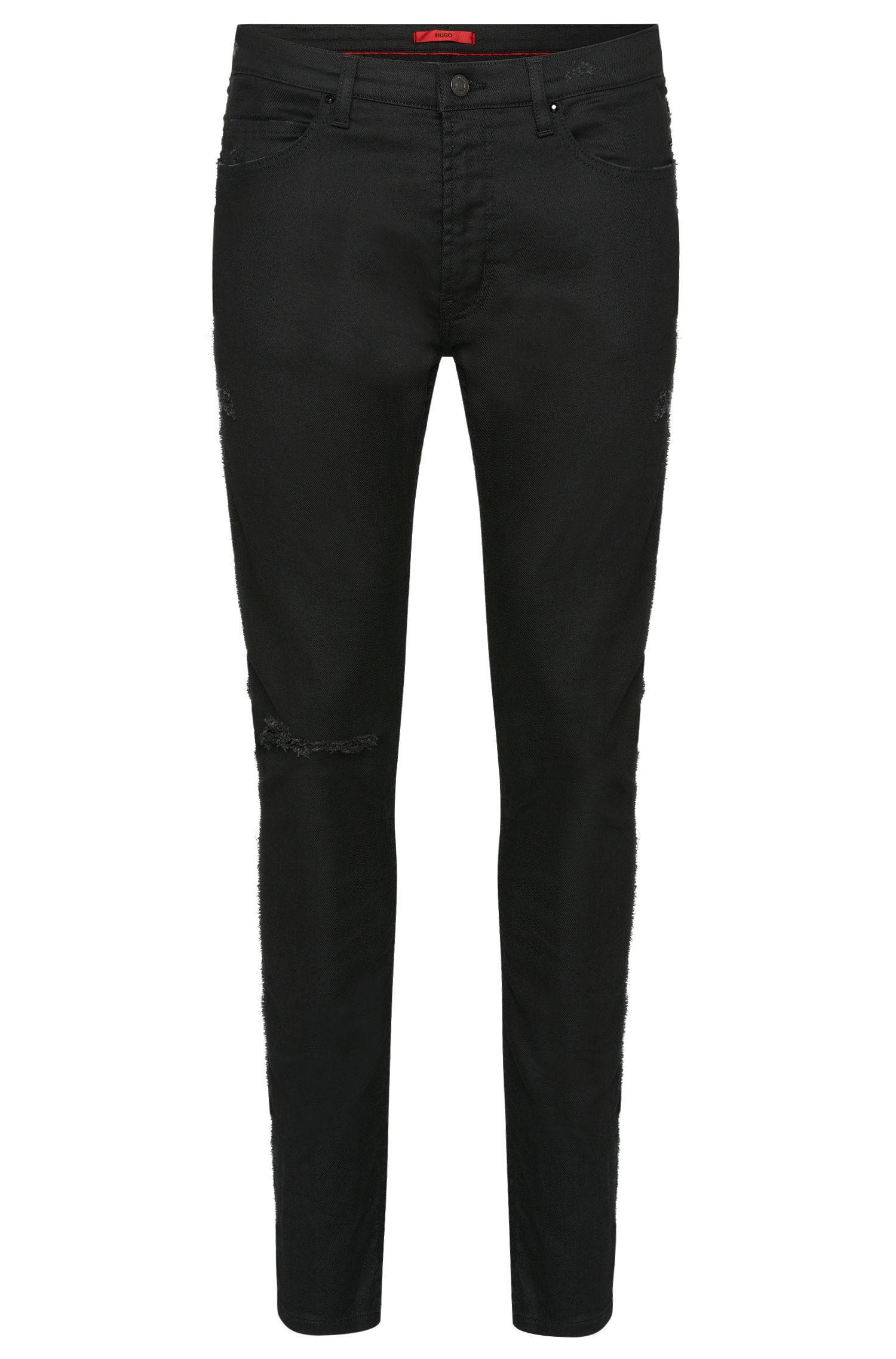 10 oz Stretch Cotton Blend Jeans, Skinny Fit | Hugo 734, Black