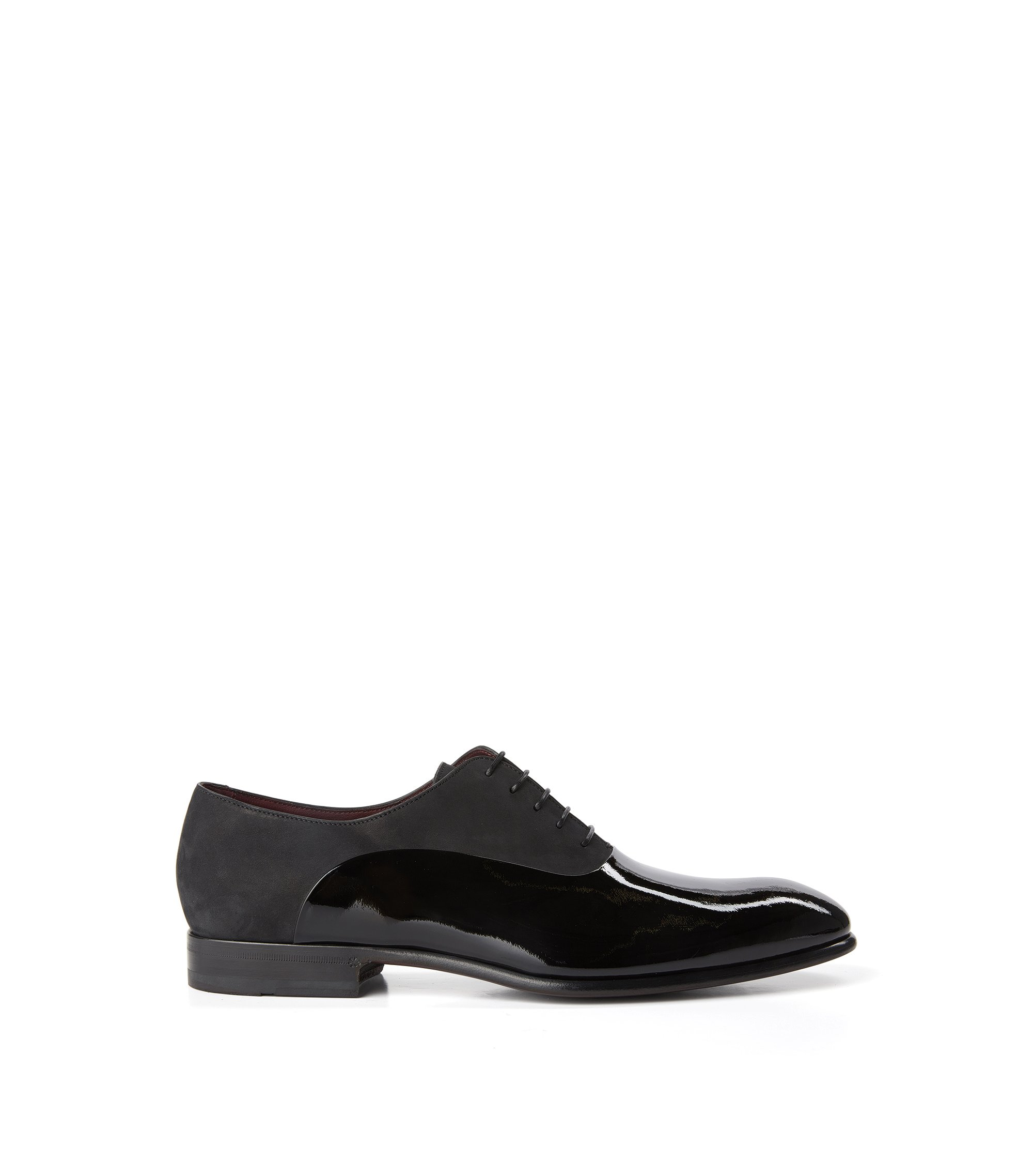 Italian Nubuck and Patent Leather Oxford Dress Shoe | T-Legend Oxfr Panu, Black
