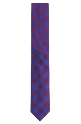 'Tie 6 cm' | Slim, Silk Embroidered Plaid Tie, Purple