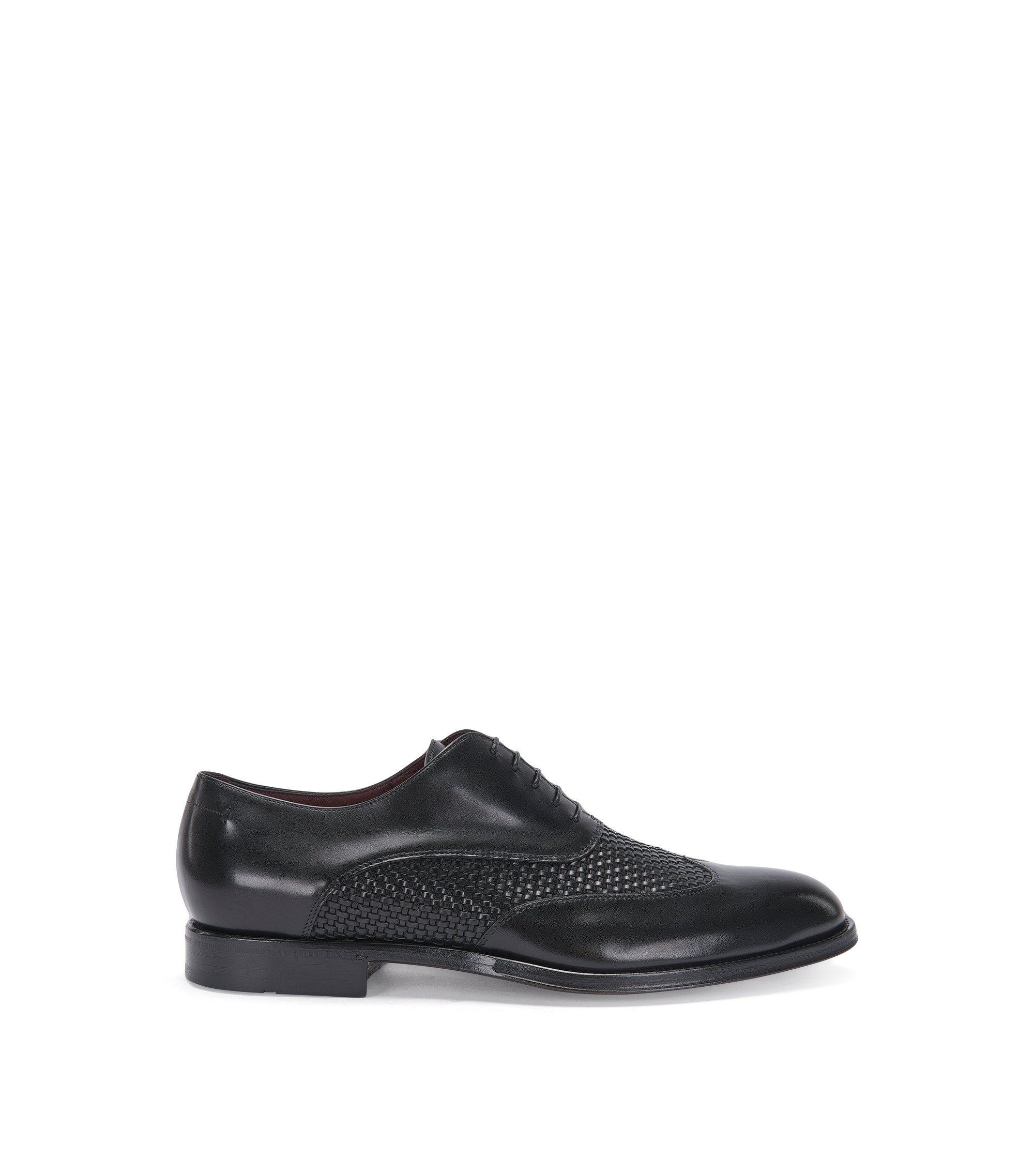 Italian Calfskin Woven Wingtip Oxford Shoe | T-Idol Oxfr Wowt, Black