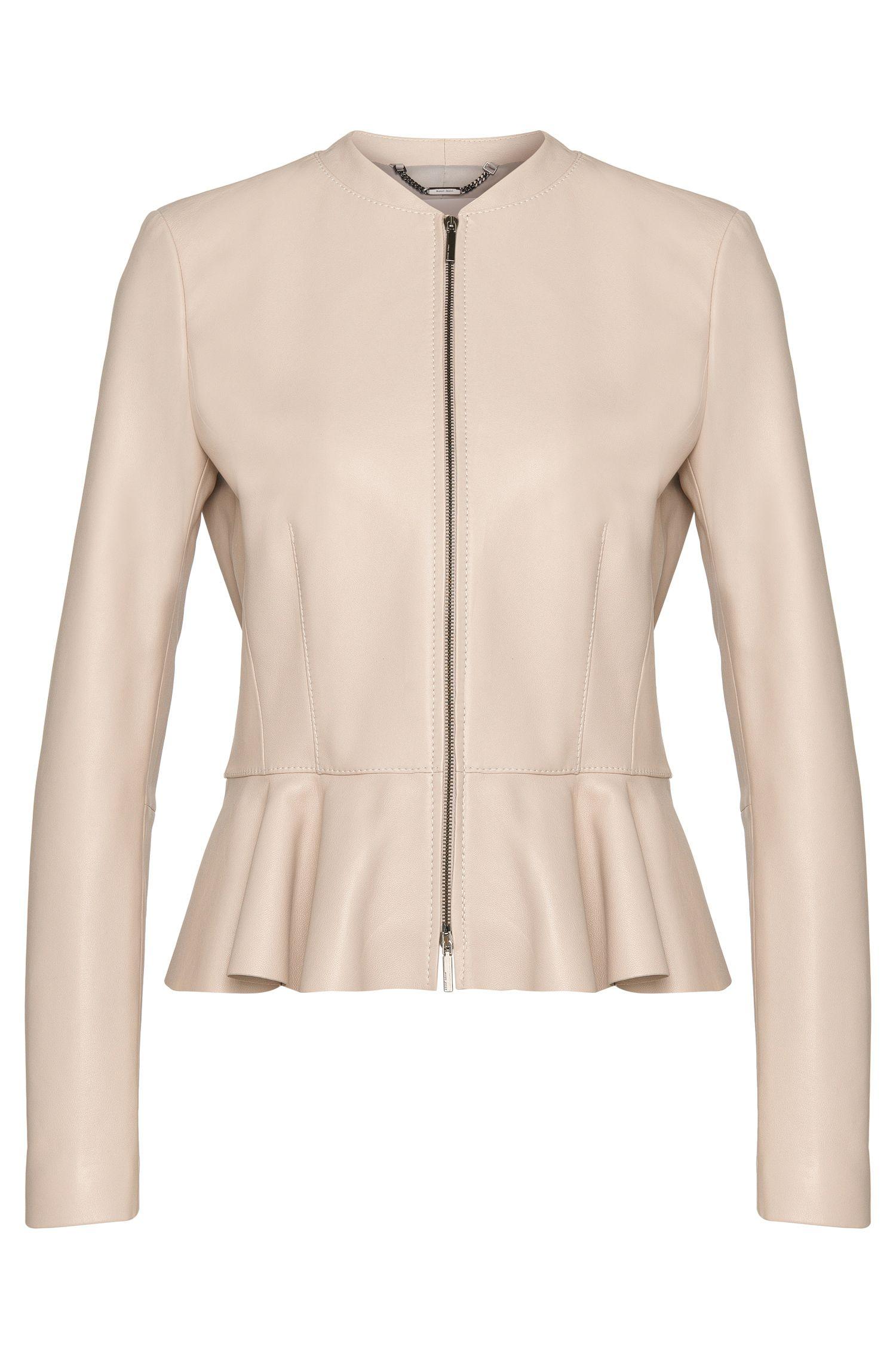'Safisse' | Lambskin Peplum Leather Jacket