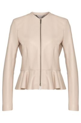 Lambskin Peplum Leather Jacket | Safisse, Light Beige