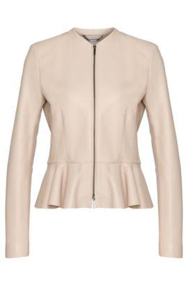 'Safisse' | Lambskin Peplum Leather Jacket, Light Beige