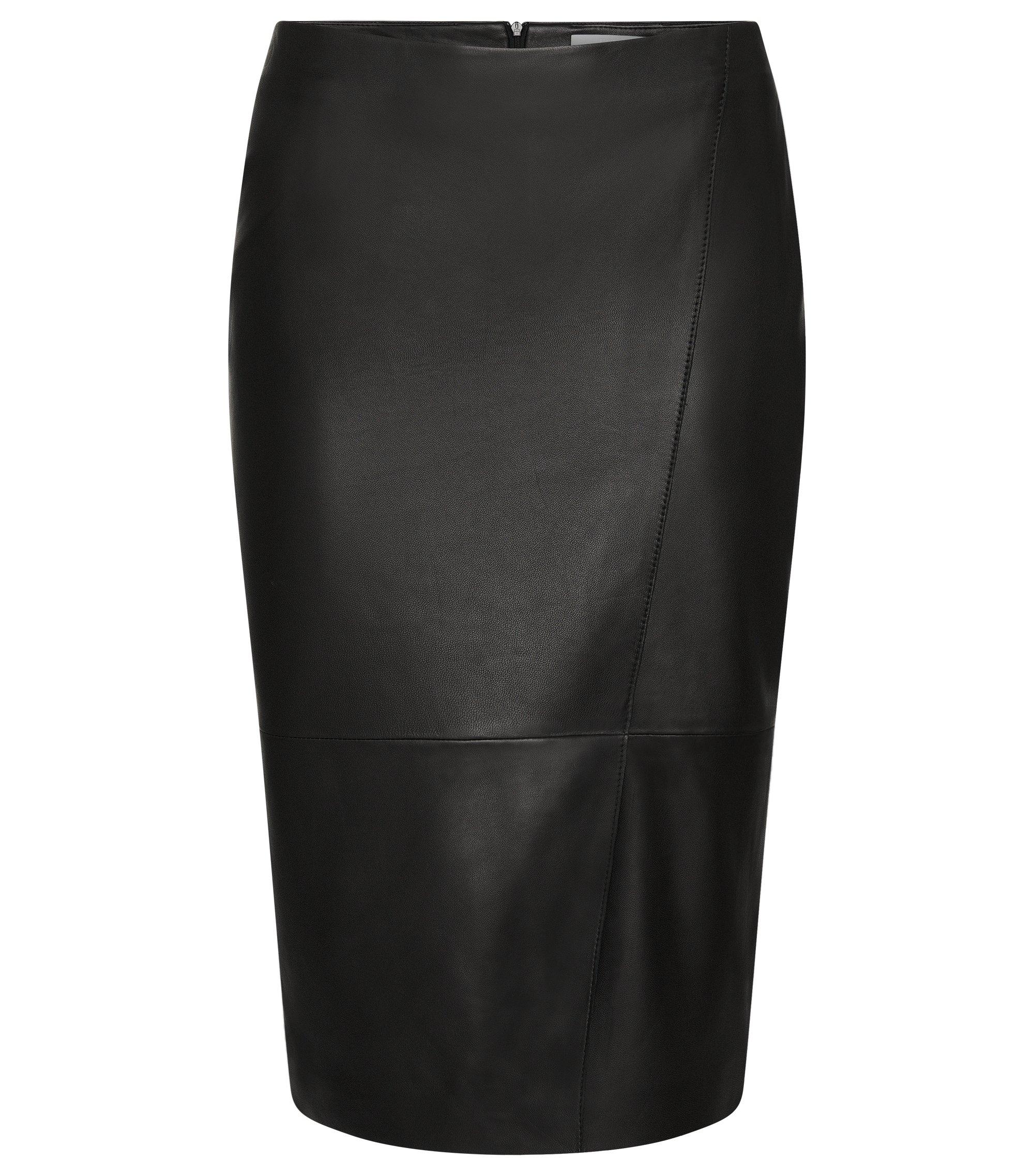 Lambskin Asymmetrical Pencil Skirt | Seylise, Black