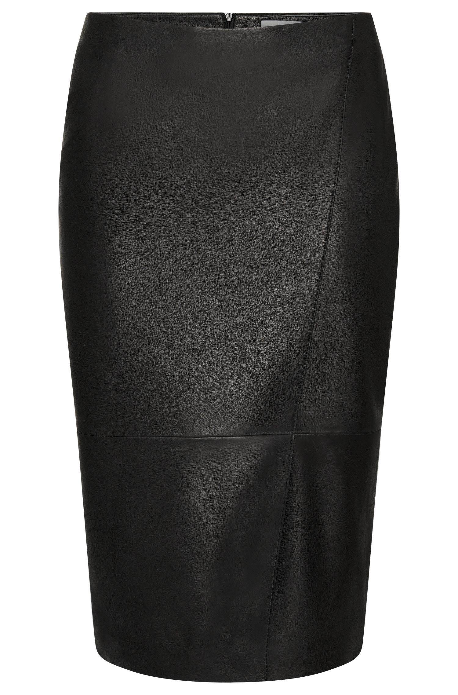 'Seylise' | Lambskin Asymmetrical Seam Pencil Skirt