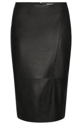 'Seylise' | Lambskin Asymmetrical Seam Pencil Skirt, Black