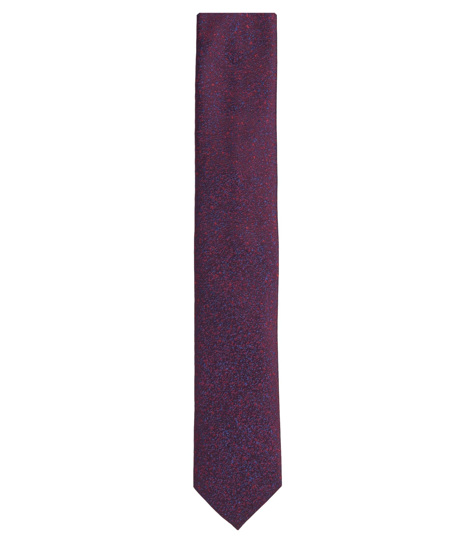 Checked Italian Silk Tie, Dark Red