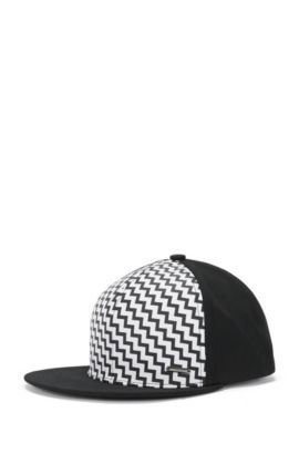 'Men X' | Cotton Patterned Baseball Cap, Black