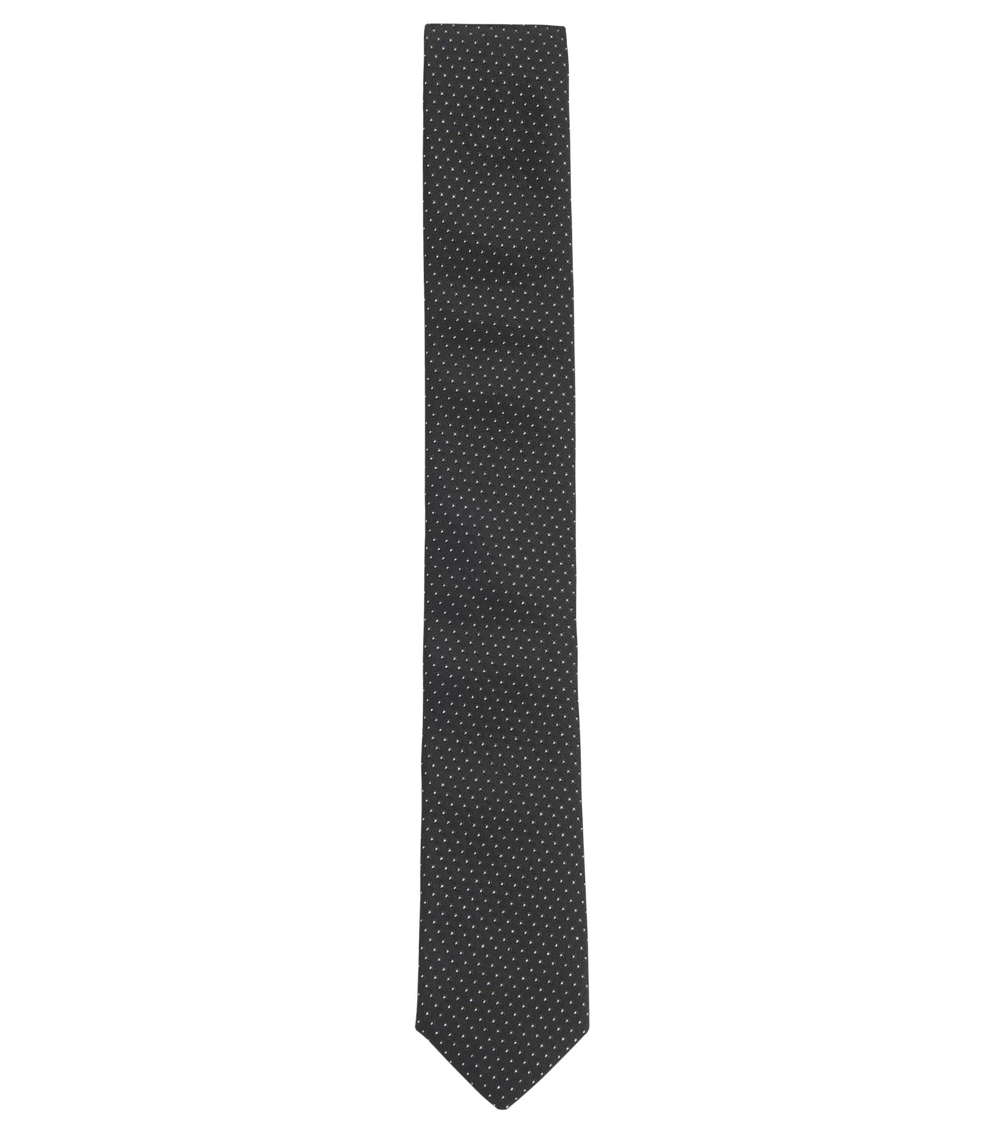 Metallic Dotted Italian Silk Slim Tie, Black
