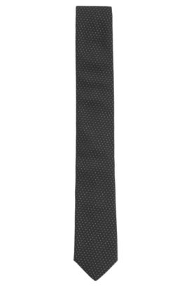Metallic Dotted Italian Silk Slim Tie, Black