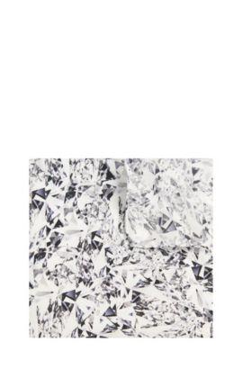 'Pocket sq. cm 33x33' | Italian Silk Patterned Pocket Square, Open White