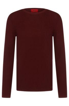 'Salexo' | Merino Virgin Wool Textured Sweater, Dark Red
