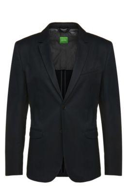 Cotton Textured Sport Coat, Slim Fit | Aymo, Dark Blue