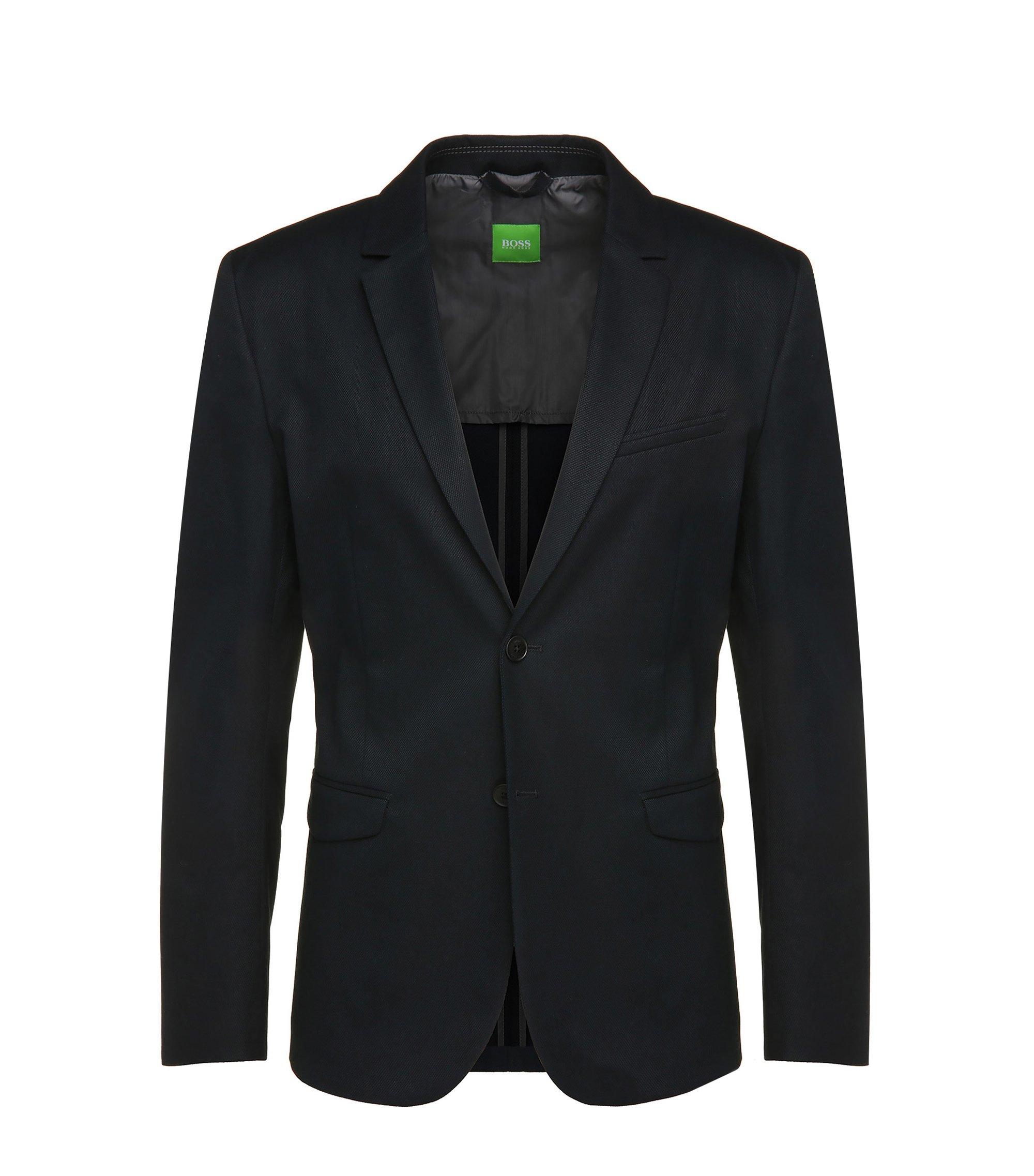 Cotton Textured Sport Coat, Slim Fit   Aymo, Dark Blue