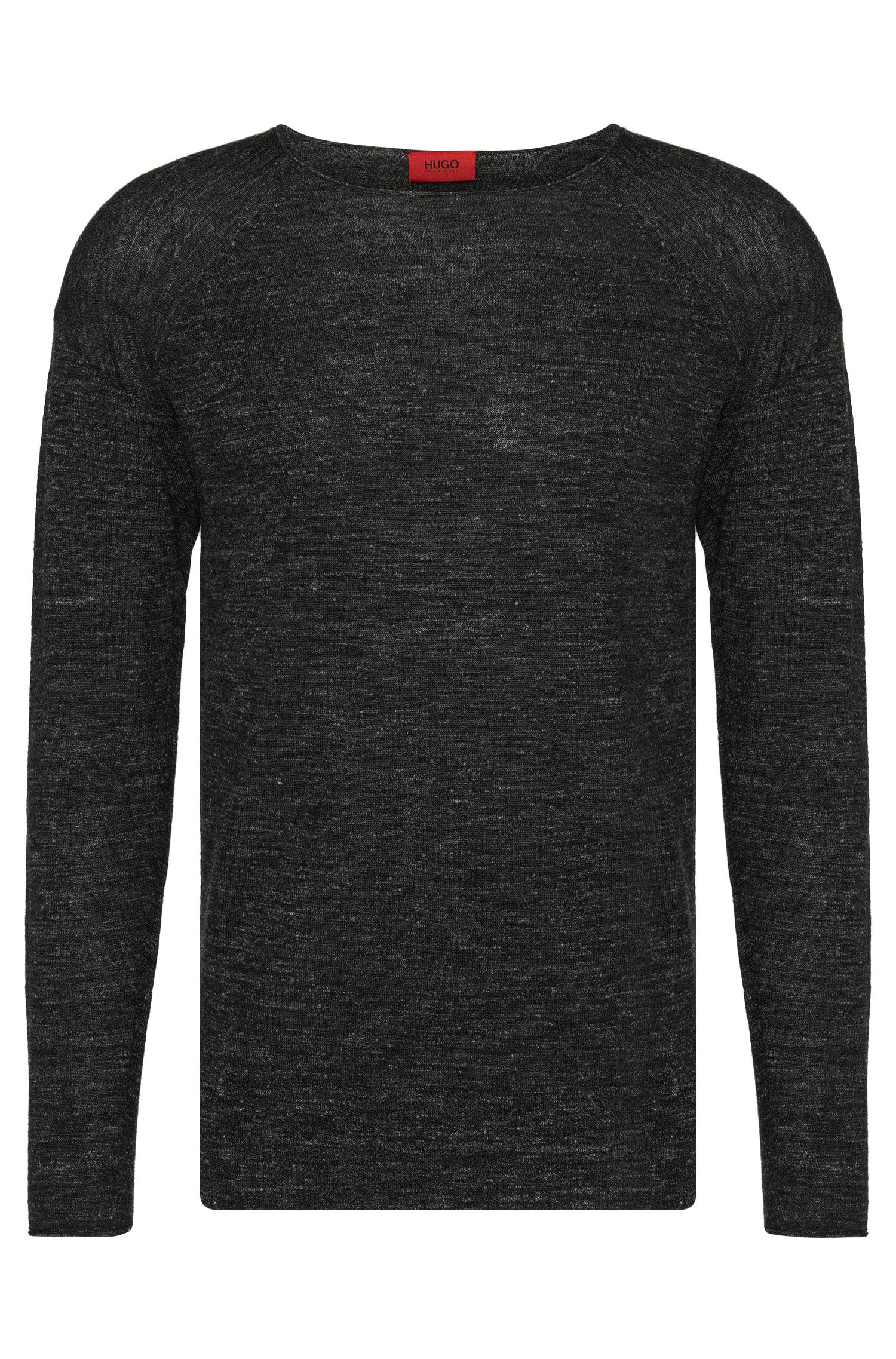 'Sullmore' | Virgin Wool Linen Melange Sweater, Black