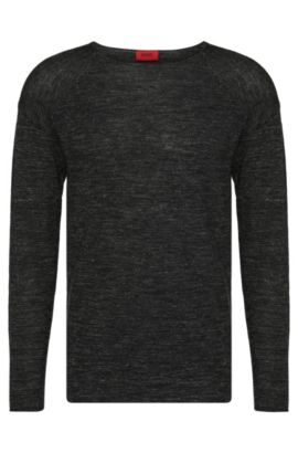 'Sullmore' | Virgin Wool Linen Melange Sweater, Black