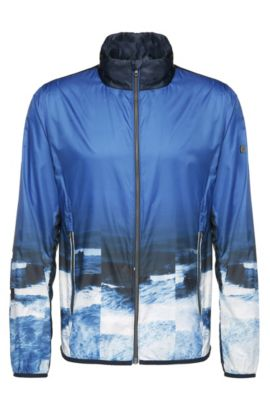 'Jocean' | Printed Bomber Jacket, Concealed Hood, Blue