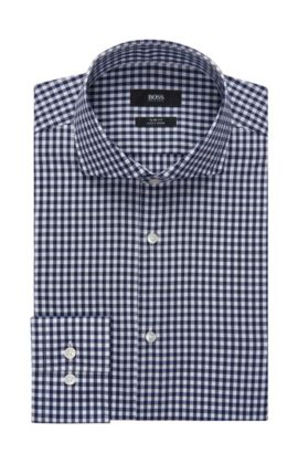 Gingham Cotton Dress Shirt, Slim Fit | Jason, Dark Blue