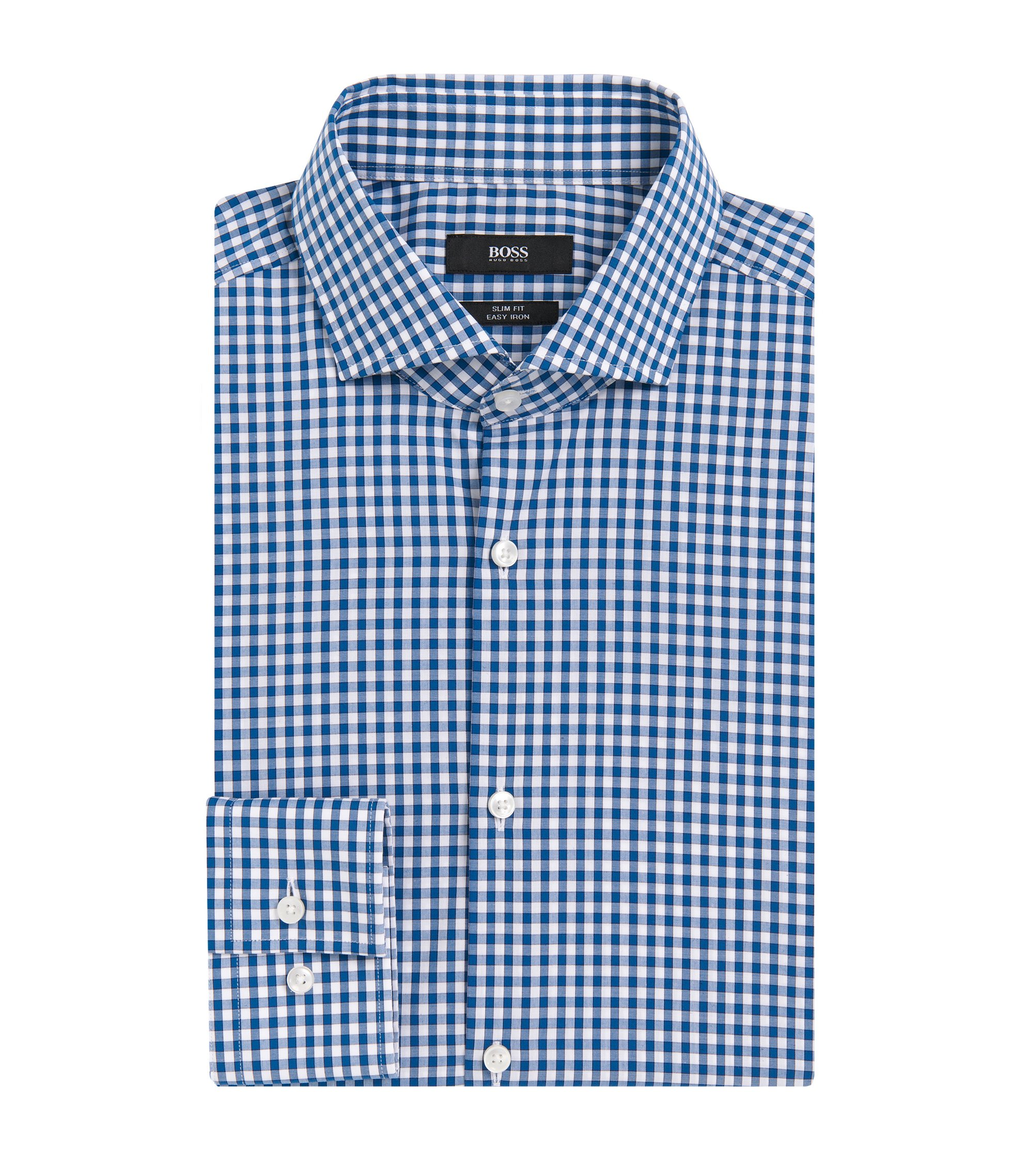 Gingham Cotton Dress Shirt, Slim Fit | Jason, Turquoise