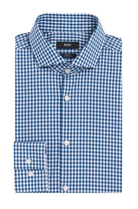 Gingham Cotton Dress Shirt, Slim Fit | Jason, Turquoise