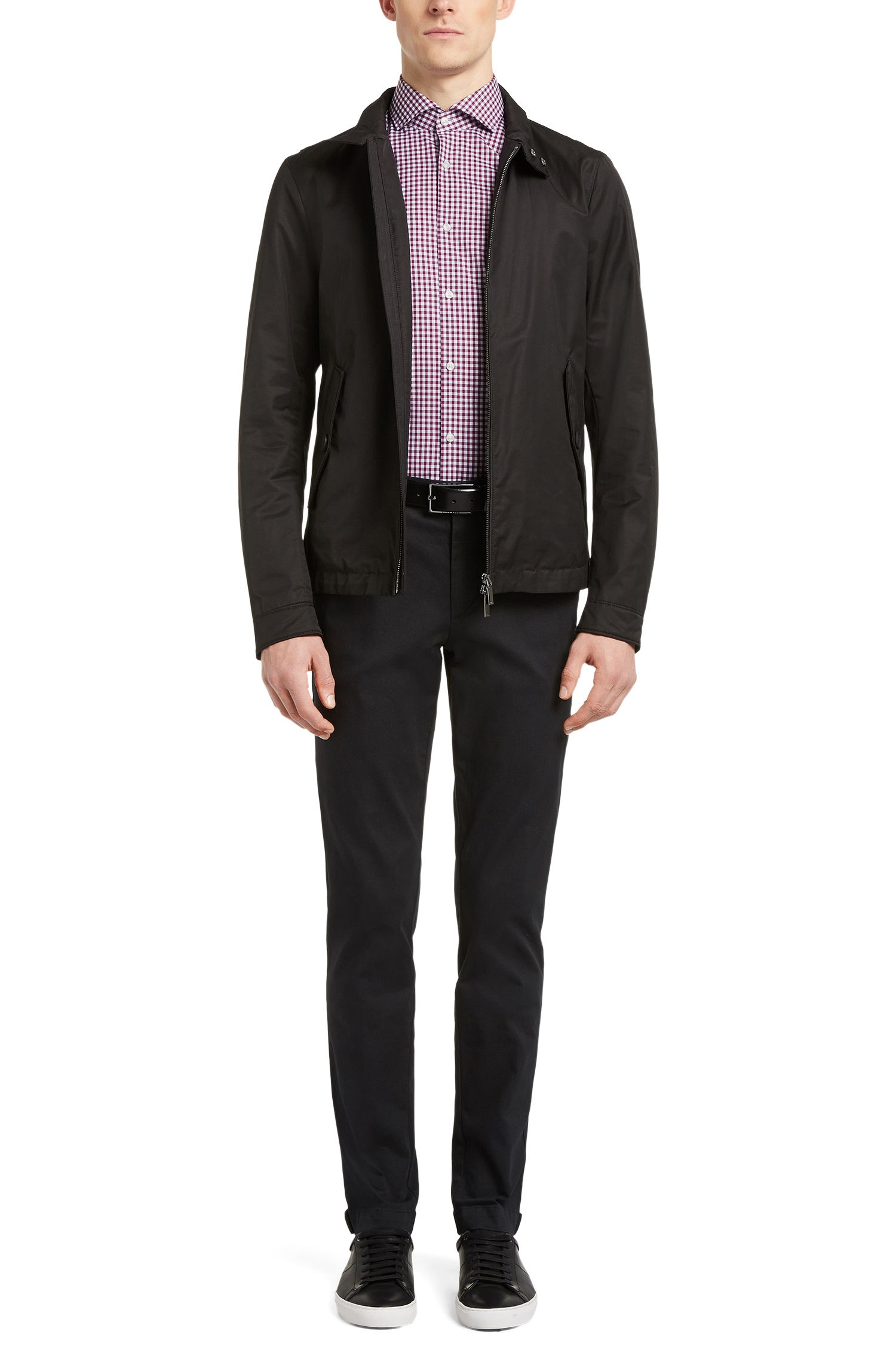 Gingham Cotton Dress Shirt, Slim Fit | Jason, Dark Purple