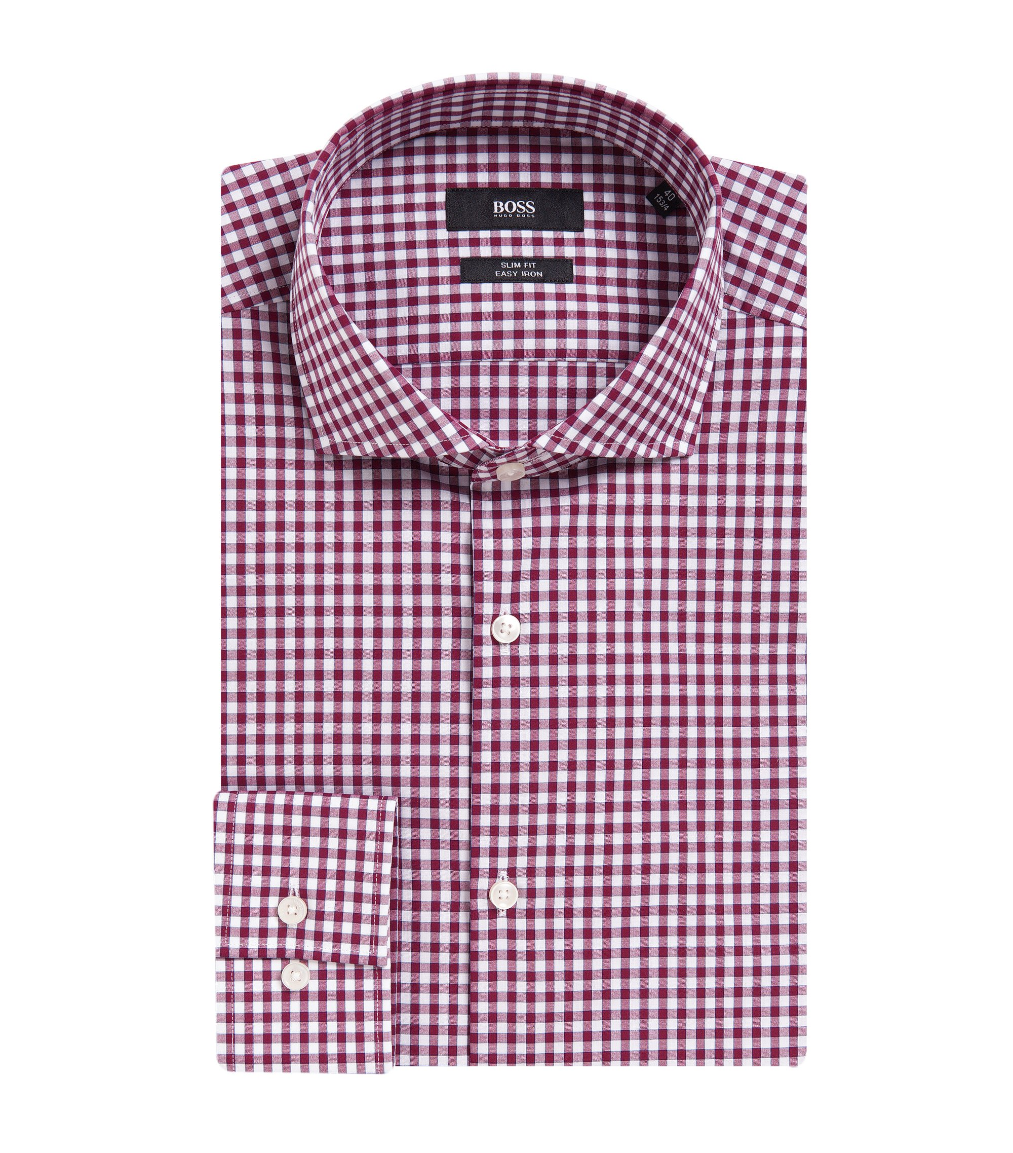 Gingham Cotton Dress Shirt, Slim Fit | Jason, Dark Purple
