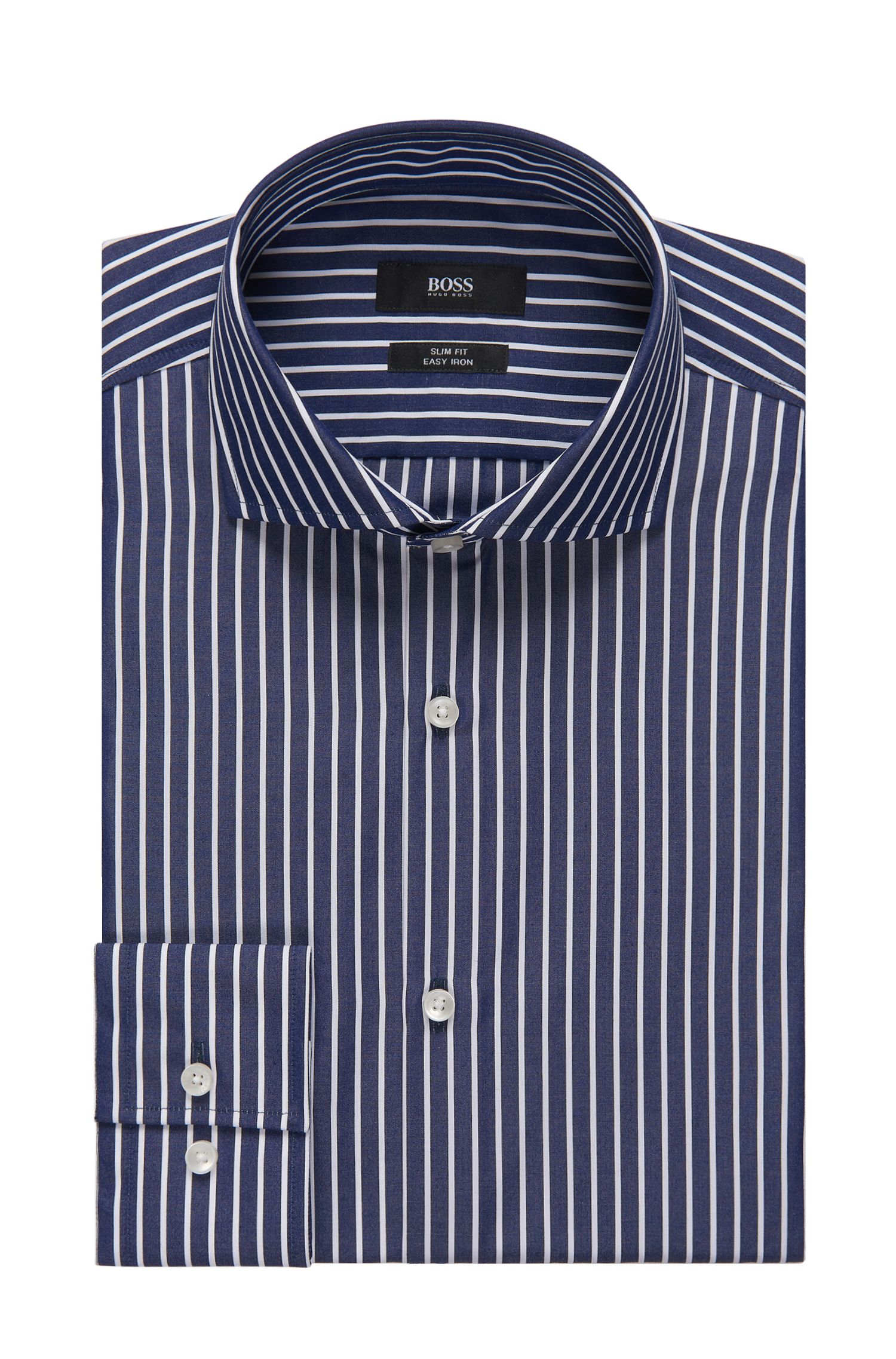 Striped Easy-Iron Cotton Dress Shirt, Slim Fit| Jason