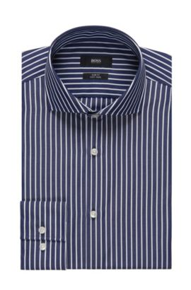 Striped Easy-Iron Cotton Dress Shirt, Slim Fit| Jason, Dark Blue