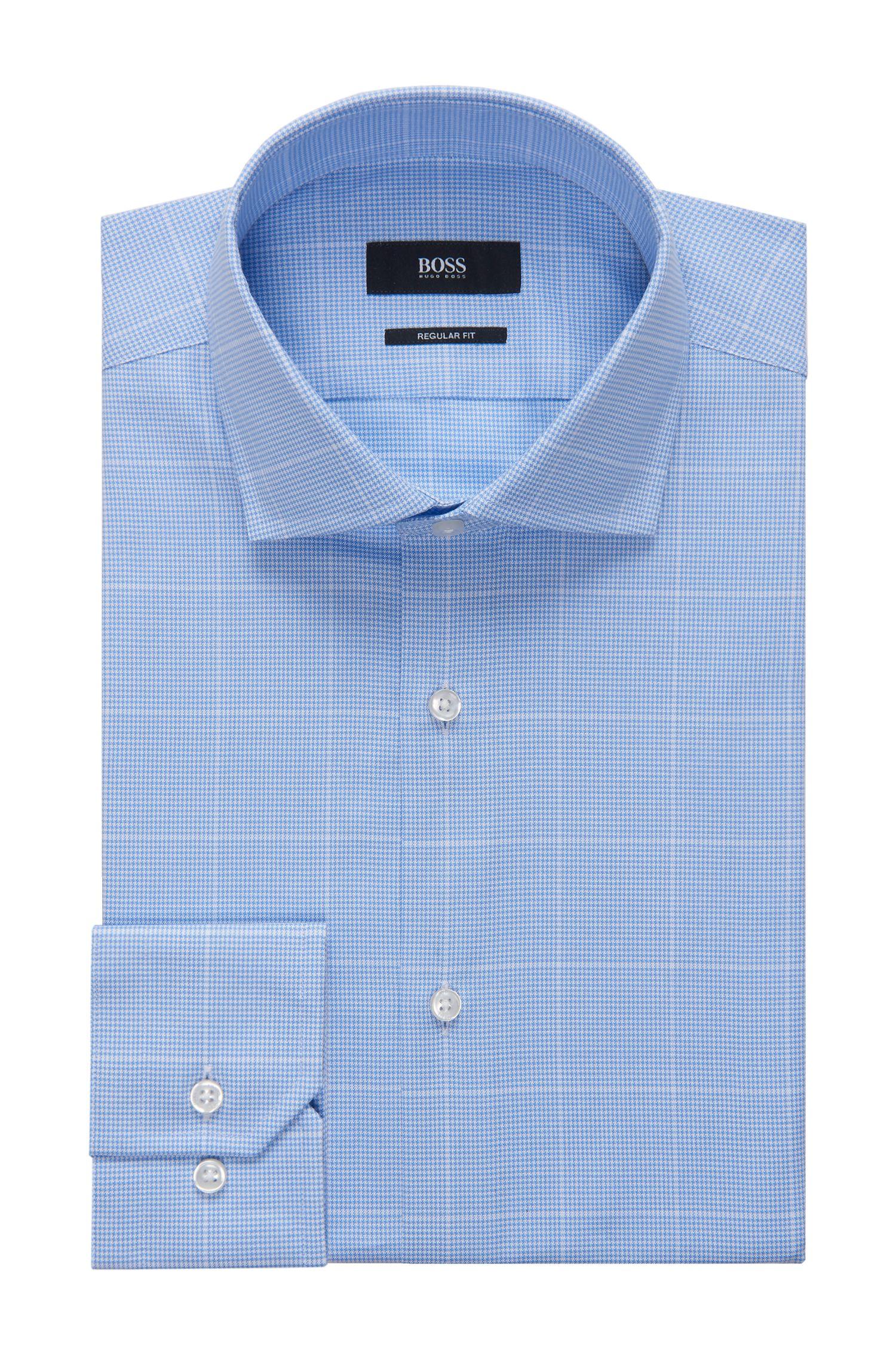 Windowpane Cotton Dress Shirt, Regular Fit   Gordon