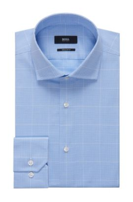 Windowpane Cotton Dress Shirt, Regular Fit | Gordon, Light Blue