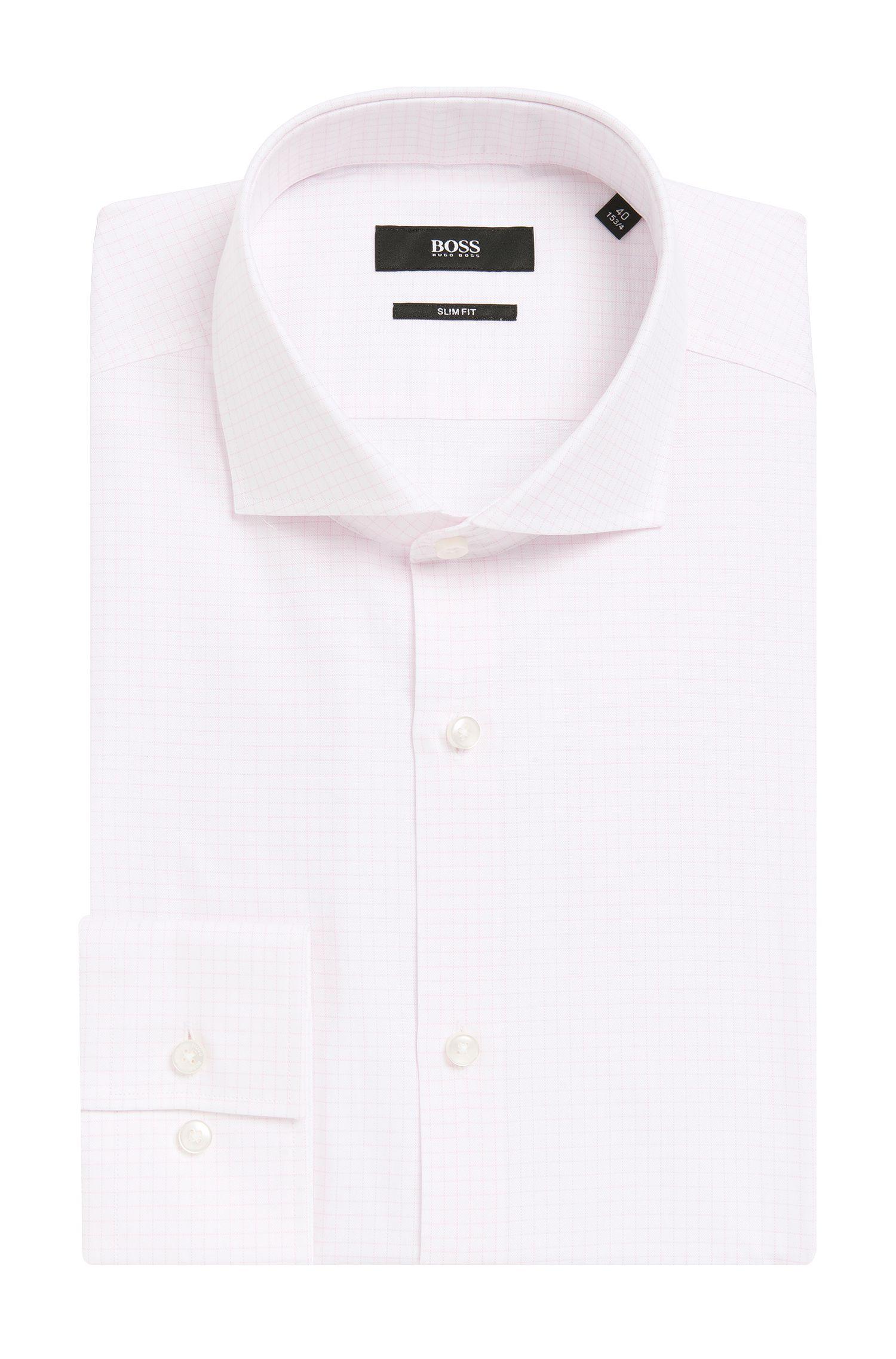 Grid Check Cotton Dress Shirt,Slim Fit | Jason