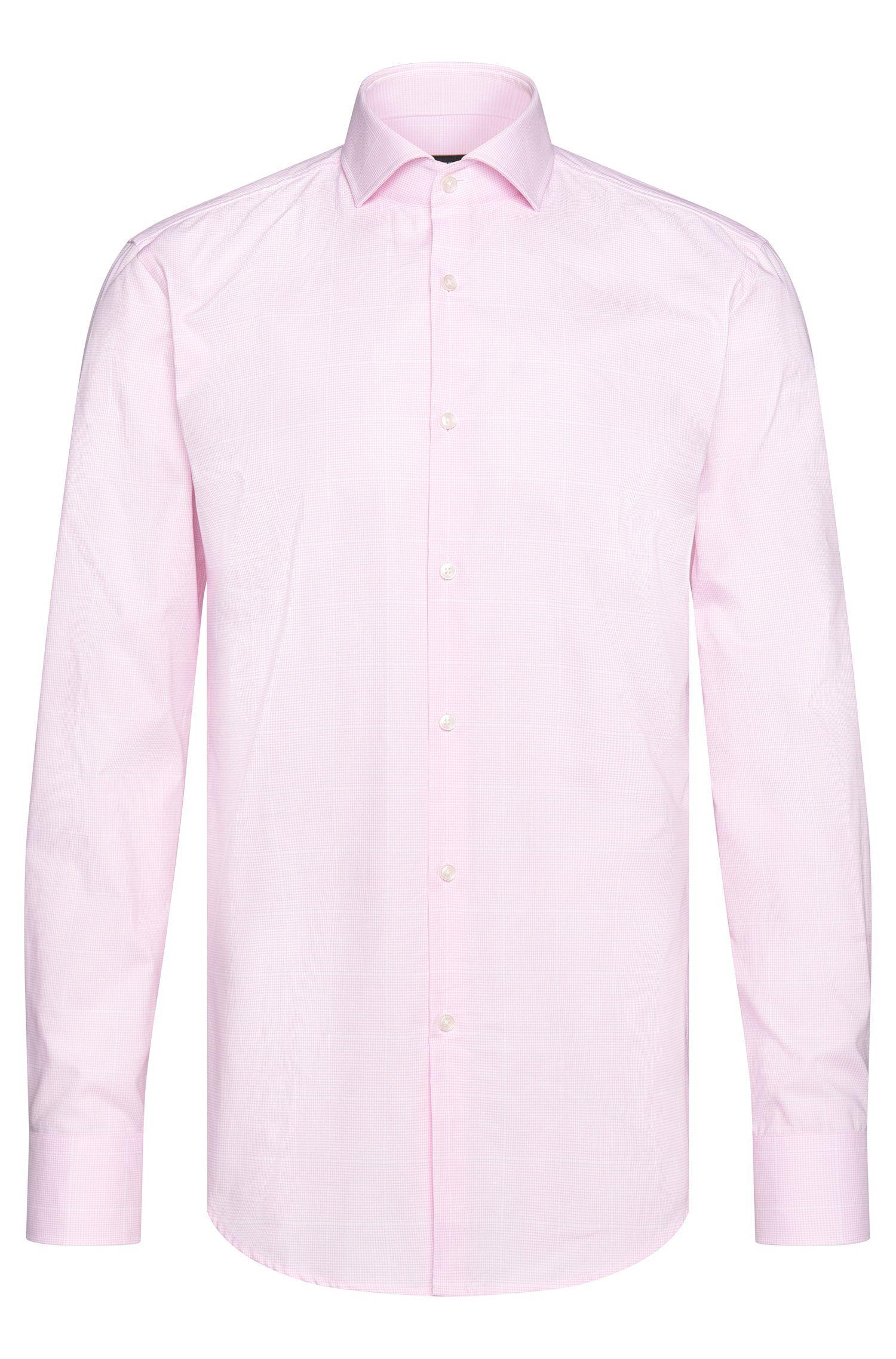 Houndstooth Cotton Dress Shirt, Slim Fit| Jason, light pink